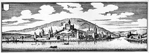 Klopp Castle - View of Bingen and Klopp Castle by Matthäus Merian, 1646