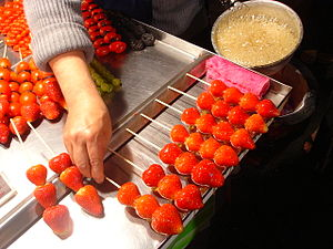 Tanghulu - Strawberry dipped with sugar coating for sale as a bintanghulu