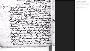 Joseph-François Mangin - Joseph François Mangin's birth certificate in Dompaire, Vosges, France (1758). Note that family names in the 18th century could have different spelling as often based on pronunciation (in French, Mengin = Mangin).