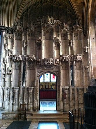 Bishop West's Chantry Chapel. The niche statues were destroyed by his successor, the reformer Bishop Goodrich. Bishop West's Chantry Chapel.jpg