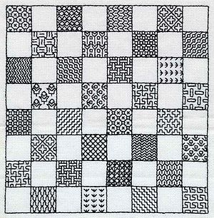 Holbein stitch - Image: Blackwork Chessboard