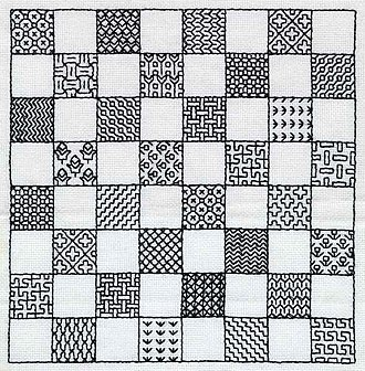 Holbein stitch - Image: Blackwork Chessboard