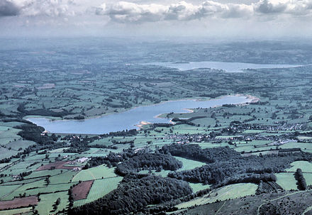 Aerial photograph showing Blagdon Lake in the foreground and Chew Valley Lake in the distance.