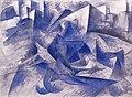 Boccioni - Cavallo + cavaliere + case, 1914.jpg