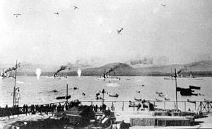 Chilean Navy - The Chilean Air Force bombs the Chilean Fleet at the port of Coquimbo during the Chilean naval mutiny of 1931.(Probably a faked photo)