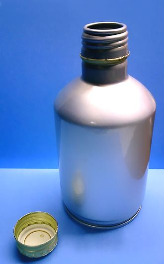 Closure (container) - An aluminum bottle with a threaded aluminum screw closure