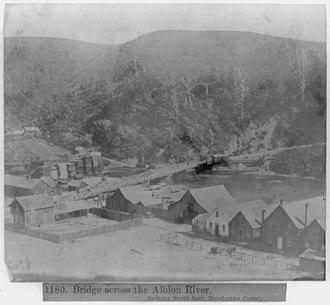 Albion River Bridge - The low bridge across the Albion River in 1866