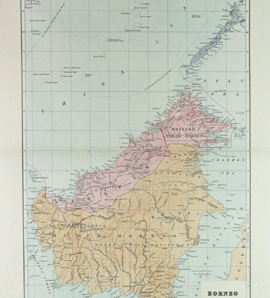 Map of the island divided between the Dutch and the British, 1898. The present boundaries of Malaysia, Indonesia and Brunei are largely inherited from the British and Dutch colonial rules.