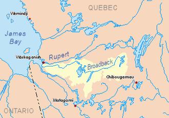 Broadback River - Image: Broadback map