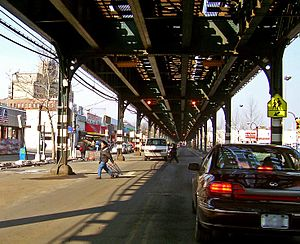 U.S. Route 9 in New York - US 9 runs under the elevated IRT Broadway–Seventh Avenue Line in the Bronx.