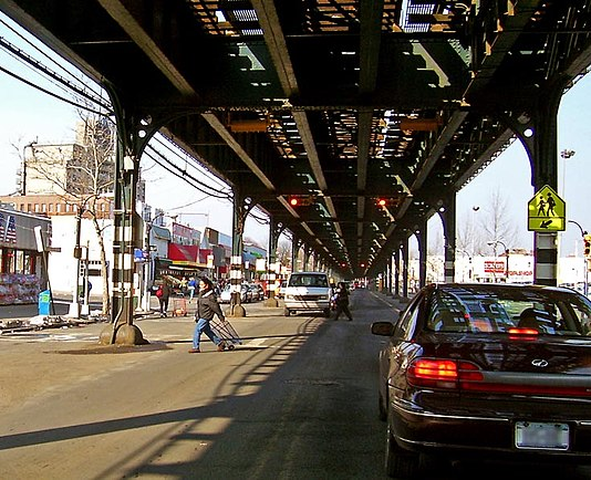 Broadway under the IRT Broadway-Seventh Avenue Line's elevated structure in the Bronx Broadway under 1 subway.jpg