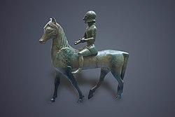 Bronze statuette of a warrior on horseback.JPG