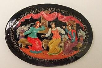 Russian lacquer art - Image: Brosche Lackminiatur aus Mstjora Vorderseite 1629