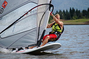 Forces on sails - Windsurfers employ lift vertical to the water to reduce drag on the board by leaning the sail towards the wind.