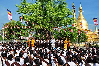 Burmese Buddhist devotees converge on a Bodhi tree in preparation for watering. Buddha Day.jpg