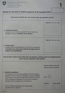 Photographie d'un bulletin de vote