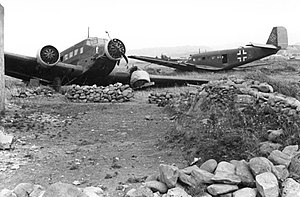 Junkers Ju 52 - Ju 52s damaged in Crete, 1941