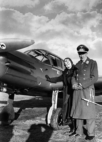 Messerschmitt Bf 108 - Theo Osterkamp and his wife, Fel Gudrun, with a Messerschmitt Bf 108 (1938)