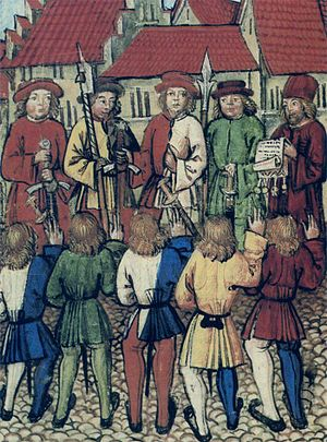 History of Zürich - Citizens of Zürich on 1 May 1351 swear allegiance to representatives of Uri, Schwyz, Unterwalden and Lucerne, being read the Federal Charter (Luzerner Schilling).