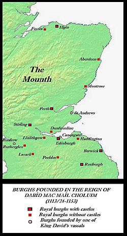 Burghs established in Scotland before the accession of David's successor and grandson, Máel Coluim IV; these were essentially Scotland's first towns.