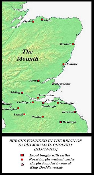 Davidian Revolution - Burghs established in Scotland before the accession of David's successor and grandson, Máel Coluim IV; these were essentially Scotland-proper's first towns.