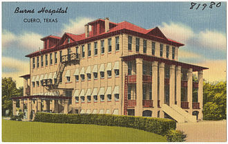 Cuero, Texas - Postcard showing the Burns Hospital, Cuero, Texas, between 1930-1945