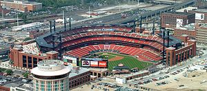 Sports in St. Louis - A view of Busch Stadium from the top of the Gateway Arch