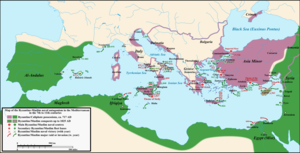 Sack of Damietta (853) - Map of the Arab–Byzantine naval conflict in the Mediterranean, 7th–11th centuries