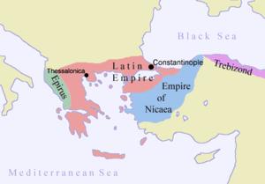 Η Λατινική Αυτοκρατορία (κόκκινο), η Αυτοκρατορία της Νίκαιας (μπλε), η Αυτοκρατορία της Τραπεζούντας (μωβ) ,και το Δεσποτάτο της Ηπείρου (πράσινο). Τα όρια είναι ασαφή.