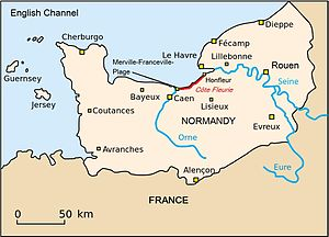 Côte Fleurie - Location of the Côte Fleurie on the Normandy coast.