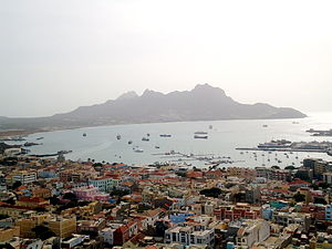 São Vicente, Cape Verde - View of Downtown Mindelo, Baía do Porto Grande and Monte Cara