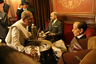 Café Gijón - A scene from the café on display in the nearby wax museum