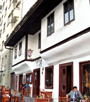 "Kafana - Famous kafana '''""?""''' in downtown Belgrade"