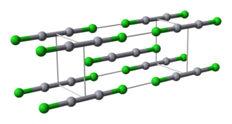 Mercury(I) chloride - Ball-and-stick model of calomel's unit cell