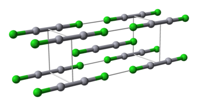 Ball-and-stick model of calomel's unit cell