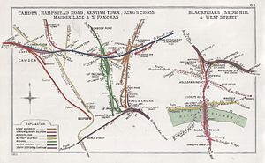 Camden Road (Midland) railway station - Railway Clearing House diagram of lines around Camden in 1903