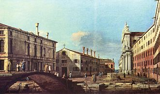 I Gesuiti, Venice - The Campo and Church, by Canaletto