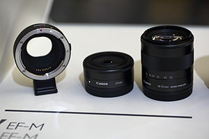 Canon EF-M lens mount - Canon EF/EF-S to EF-M adapter mount, 22 mm EF-M prime lens and 18-55 mm EF-M standard zoom lens
