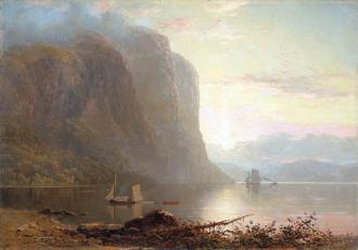 Lucius Richard O'Brien - Sunrise on the Saguenay, Cape Trinity (1880). Oil on canvas. 90 x 127 cm. National Gallery of Canada