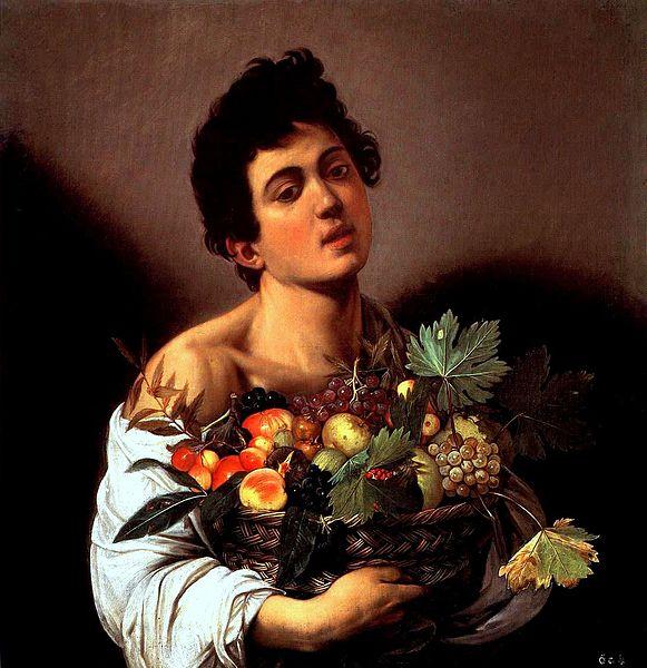 Fanciullo con canestro di frutta. Caravaggio, Italian, 16th century. Click image to view source.