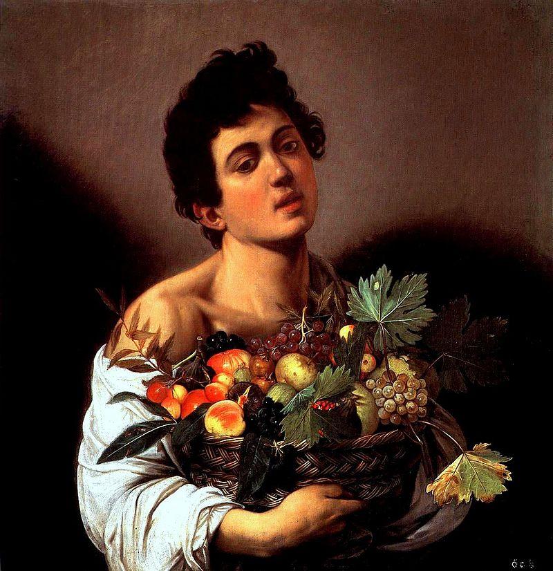 Fanciullo con canestra di frutta
