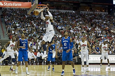 The interior court of the Thomas and Mack Center during an exhibition game for the 2012 Olympics. Carmelo Anthony dunk USA vs Dominican Republic.jpg