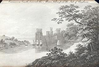 Carnarvon Castle,towards the Menai,taken from the Isle of Anglesea