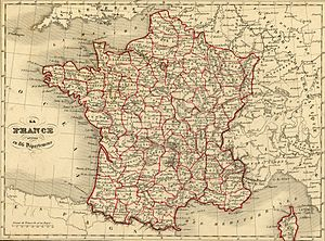 France in the long nineteenth century - A map of France in 1843 under the July Monarchy