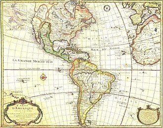 "Historiography of Colonial Spanish America - ""Carte d'Amérique"" by French cartographer Guillaume Delisle 1774"
