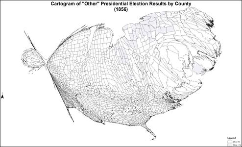 CartogramOtherPresidentialCounty1856Colorbrewer