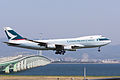 Cathay Pacific Airways, CX36, Boeing 747-467F (SCD) , B-HUP, Arrived from Hong Kong, Kansai Airport (17001850319).jpg