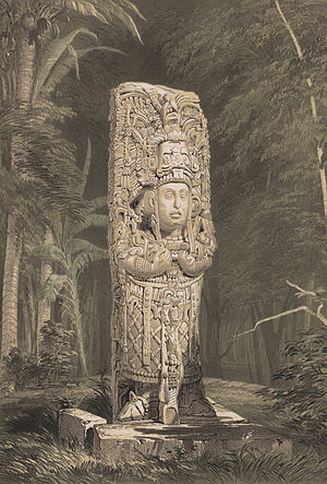 Frederick Catherwood - Lithograph of Stela D. Copan (1844), from Views of Ancient Monuments.