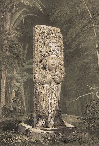 Lithograph of Stela at Copan, Published in 1844 by Frederick Catherwood in Views of Ancient Monuments in Central America, Chiapas, and Yucatan.