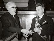 Ceausescu receiving the presidential sceptre 1974
